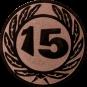 Emblem 50 mm Ehrenkranz mit 15, bronze