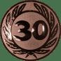 Emblem 50 mm Ehrenkranz mit 30, bronze