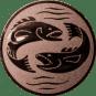 Emblem 50mm 2 Fische, bronze