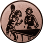 Emblem 50mm 2 Tischtennisspielerinen, bronze