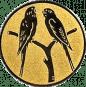 Emblem 25mm 2 Vögel auf Astgabel, gold