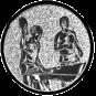 Emblem 50mm 2Tischtennisspieler, silber