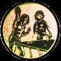 Emblem 50mm 2Tischtennisspielerinen, gold