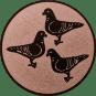 Emblem 50mm 3 Tauben, bronze