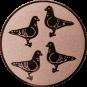 Emblem 50mm 4 Tauben, bronze