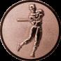 Emblem 25mm Baseball Spieler, bronze