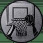 Emblem 50mm Basketball m. Korb 2, silber