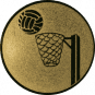 Emblem 50mm Basketball m. Korb, gold