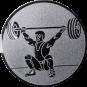 Emblem 50mm Gewichtheber Reissen, silber