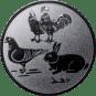 Emblem 50mm Hahn, Henne, Taube, Hase, silber