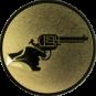 Emblem 50mm Hand mit Revolver, gold schießen