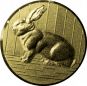 Emblem 25mm Hase 3D, gold