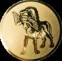 Emblem 50mm Hund apportiet Vogel im Maul, gold