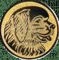Emblem 25mm Hundekopf, gold