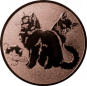 Emblem 50mm Katzen, bronze