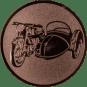 Emblem 50mm Motorrad mit Beiwagen, bronze