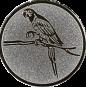 Emblem 25mm Papagei, silber