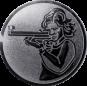 Emblem 50mm Schütze m. Gewehr, silber schießen