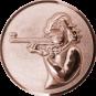 Emblem 50mm Schützin m. Gewehr 3D, bronze schießen