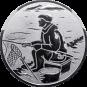 Emblem 50mm sitzender Angler, silber
