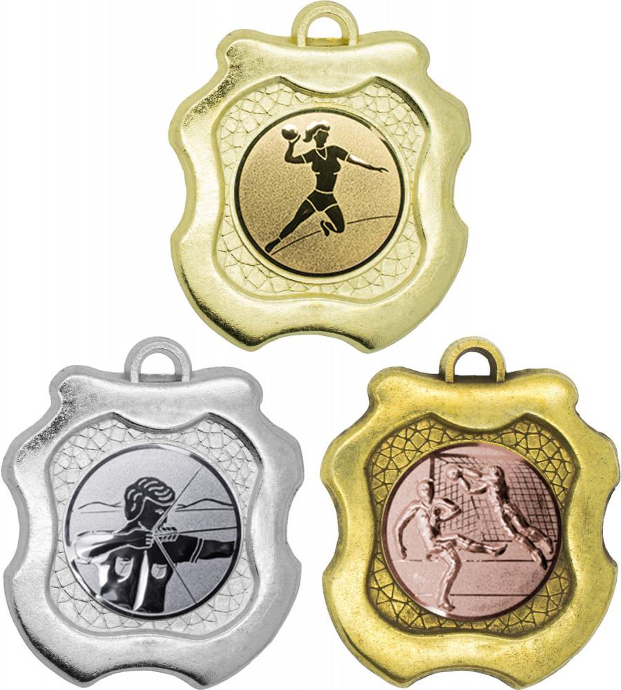 """Medaille """"Milet"""" Ø 45mm mit Wunschemblem und Band gold"""