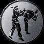 Emblem 25 mm 2 Karatekämpfer, silber