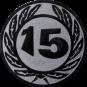 Emblem 25 mm Ehrenkranz mit 15, silber