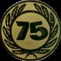 Emblem 25 mm Ehrenkranz mit 75, gold