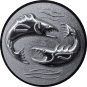Emblem 25mm 2 Fische 3D, silber