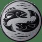 Emblem 50mm 2 Fische, silber