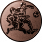 Emblem 50mm 2 Fußballspieler m. Ball, bronze