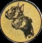 Emblem 25mm  2 Hundeköpfe, gold