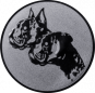 Emblem 50mm  2 Hundeköpfe, silber