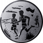 Emblem 25mm 2 Laeufer am See, silber