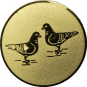 Emblem 25mm 2 Tauben, gold