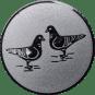 Emblem 25mm 2 Tauben, silber