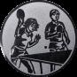 Emblem 25mm 2 Tischtennisspieler Mix, silber