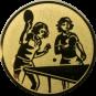 Emblem 25mm 2 Tischtennisspielerinen, gold