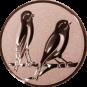 Emblem 25mm 2 Vögel rechts, bronze