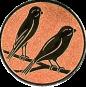 Emblem 50mm 2 Vögel rechts, bronze