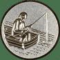 Emblem 25mm Angler im Boot 3D, silber