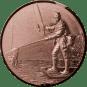 Emblem 25mm Angler mit Kescher links 3D, bronze