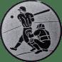 Emblem 25mm Baseball 2 Spieler, silber