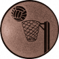 Emblem 25mm Basketball m. Korb, bronze
