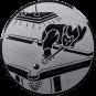 Emblem 25mm Billardspieler links, silber