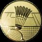 Emblem 50mm Federball m. Netz, gold