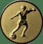 Emblem 50mm Fußballspieler m. Ball, gold