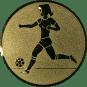 Emblem 50mm Fußballspielerin m. Ball, gold