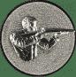 Emblem 25mm Gewehrschütze rechts 3D, silber schießen