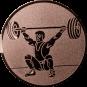 Emblem 25mm Gewichtheber Reissen, bronze